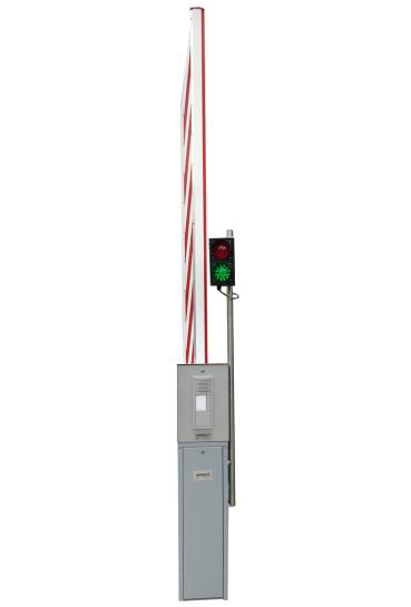 graue Automatikschranke mit Rot-Grün Ampel