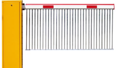 Automatikschranke VS.400 mit Sonder - Pendelgitter konzipiert als Durchgreifschutz.
