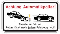 """Für mehr Sicherheit: Metallschild """"Achtung Automatikpoller"""""""